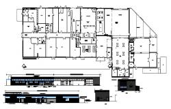 Plan of Commercial building with detail dimension in dwg file