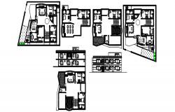 Plan of Residential house with furniture details in dwg file