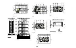 Plan of a multistorey residential building with a different section in dwg file