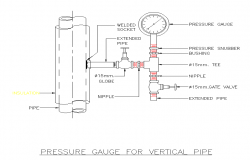 Plan of a pressure gauge for the vertical and horizontal pipe detail dwg file.