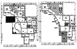 Plan of a residential building design with detail dimension in autocad