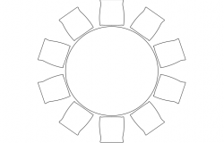 Plan of a round table and 10 chairs