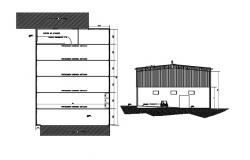 Plan of an industrial building with detail dimension in autocad
