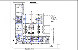 Plan of assembly cultural and health center dwg file