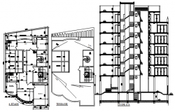 Plan of building 13.83mtr x 22.12mtr with detail dimension in dwg file