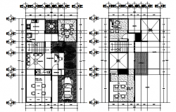 Plan of building design with furniture details in autocad