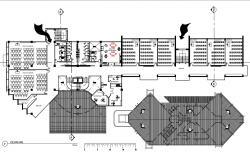Plan of building with detail dimension in autocad