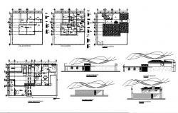 Plan of bungalow 16.05mtr x 14.52mtr with elevation in dwg file