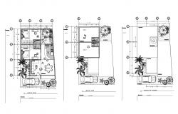 Plan of bungalow 8.53mtr x 13mtr with details dimension in dwg file