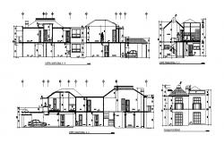 Plan of bungalows 5.60mtr x 28.68mtr with section view