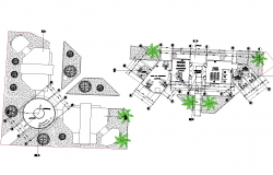 Plan of city offices and cultural center detail dwg file.