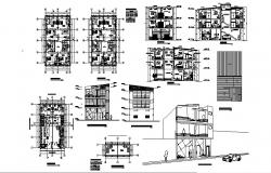 Plan of commercial building 9.40mtr x 15.00mtr with section and elevation in AutoCAD