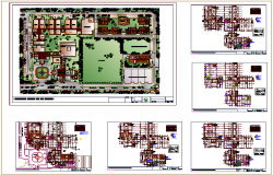 Plan of engineering college with landscape view dwg file