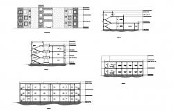 Plan of guest house building with elevation and section in dwg file