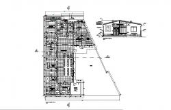 Plan of health center 25.55mtr x 23.36mtr with elevation in dwg file