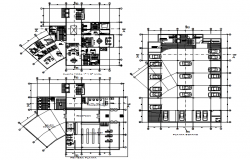 Plan of hotel design with details dimension in dwg file