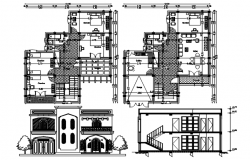 Plan of house 12.00mtr x 15.00mtr with detail dimension in dwg file