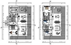 Plan of house 13.50mtr x 23.50mtr with detail dimension in dwg file