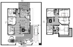 Plan of house 15.00mtr x 23.00mtr with furniture details in autocad