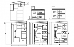 Plan of house 35' x 55'6'' with detail dimension in dwg file