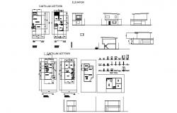 Plan of house 6.00mtr x 10.00mtr with section and elevation in autocad file