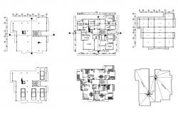 Plan of house design 15.9mtr x 15.4mtr with furniture details in dwg file