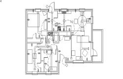Plan of house design with detail dimension in dwg file