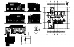 Plan of house design with different elevation and section in dwg file