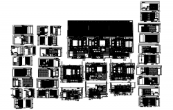 Plan of house design with different sections in dwg file