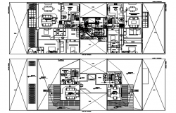 Plan of house design with furniture details in dwg file