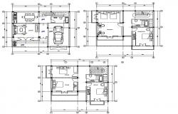 Plan of house plan with detail dimension in dwg file