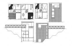 Plan of house with furniture details in AutoCAD
