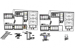 Plan of institute design with detail dimension in dwg file