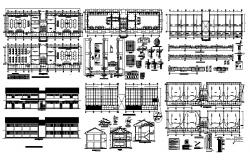 Plan of laboratory 36.50mtr x 6.80mtr detail dimension in dwg file