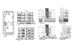 Plan of multistorey Residential building 12.00mtr x 21.20mtr with elevation in dwg file