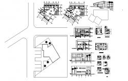 Plan of office Building with section and elevation in dwg file