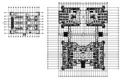 Plan of office interior with detail dimension in dwg file