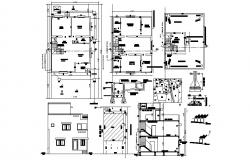 Plan of residential house 10.35mtr x 19.32mtr  with detail dimension in dwg file