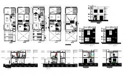 Plan of residential house 7mtr x 17.4mtr with different section and elevation in AutoCAD