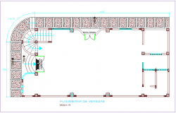 Plan of seeds with construction view of multiple use room dwg file