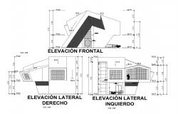 Plan of the bungalow with different elevation in dwg file