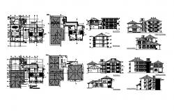 Plan of the guesthouse with different section and elevation in dwg file