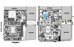 Plan of the hotel building with detail dimension in dwg file