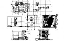 Plan of the hotel building with section details in AutoCAD