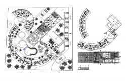 Plan of the hotel design with detail dimension in dwg file