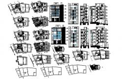 Plan of the multistorey building with sections and elevation in dwg file
