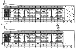 Plan of the school building with detail dimension in dwg file