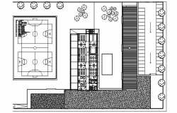 Plan of the school building with detail dimensions dwg file