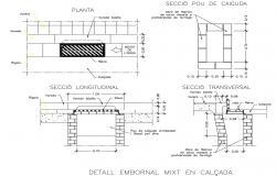 Sidewalk design with detail dimension in DWG file