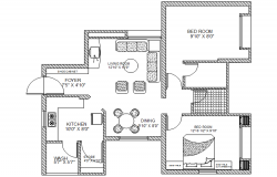 Plan of the single family house with furniture details in dwg file